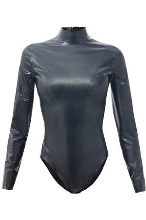 Saint Laurent High-neck Latex Bodysuit - Womens