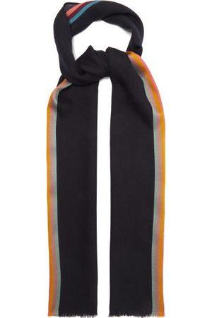 Paul Smith Men Scarves - Artist-stripe Herringbone Wool-blend Scarf - Mens - Multi