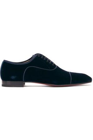 Christian Louboutin Men Formal Shoes - Greggo Orlato Velvet Dress Shoes - Mens - Navy