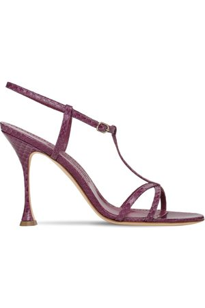 Manolo Blahnik 105mm Raqui Snakeskin Sandals