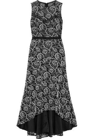 Ml Monique Lhuillier Women Asymmetrical Dresses - Woman Asymmetric Crochet-trimmed Embroidered Lace Midi Dress Size 10