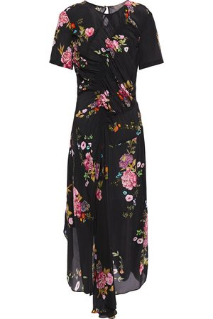 Preen Line Women Asymmetrical Dresses - Woman Asymmetric Ruched Floral-print Crepe De Chine Midi Dress Size L