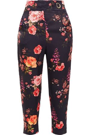 MOTHER OF PEARL Women Pants - Woman Carmen Cropped Floral-print Hammered-satin Tapered Pants Dark Size 10