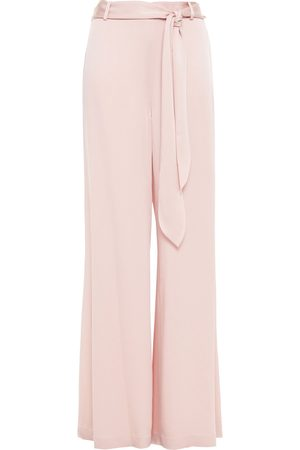 Halston Heritage Women Wide Leg Pants - Woman Belted Satin Wide-leg Pants Pastel Size 0