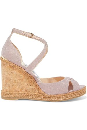 Jimmy Choo Women Sandals - Woman Alanah 105 Glittered Woven Espadrille Wedge Sandals Baby Size 35
