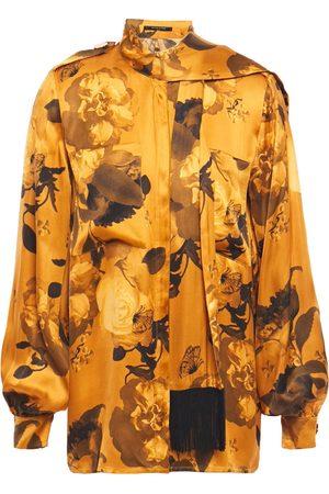 MOTHER OF PEARL Women Blouses - Woman Leandra Tie-neck Floral-print Satin Blouse Saffron Size 10