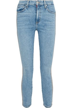 ALICE+OLIVIA Women High Waisted - Woman Good Cropped Bead-embellished High-rise Skinny Jeans Light Denim Size 24