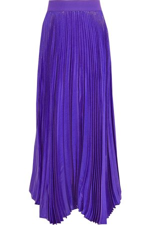 ALICE+OLIVIA Women Maxi Skirts - Woman Katz Pleated Metallic Silk-blend Maxi Skirt Violet Size 0