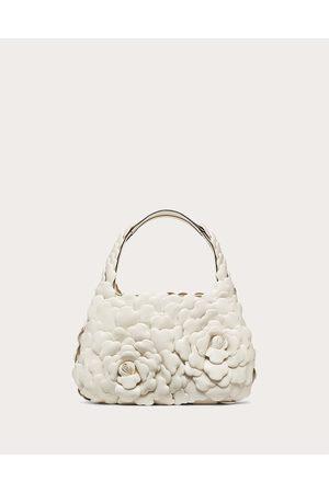 VALENTINO GARAVANI Small 03 Rose Edition Atelier Hobo Bag Women Ivory Lambskin 100% OneSize