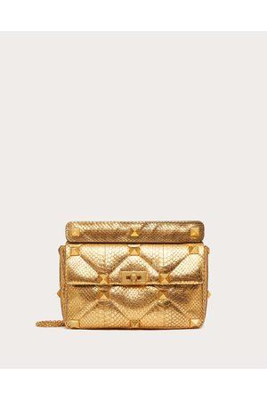 VALENTINO GARAVANI Women Shoulder Bags - Large Roman Stud Elaphe Chain Bag Women Antique Brass 100% Snakeskin OneSize