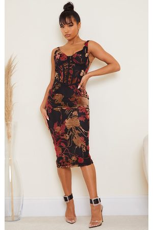 PRETTYLITTLETHING Multi Floral Flocked Sleeveless Corset Detail Midi Dress