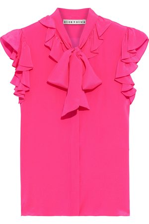 ALICE+OLIVIA Women Blouses - Woman Robbie Pussy-bow Ruffled Silk Crepe De Chine Blouse Bright Size L