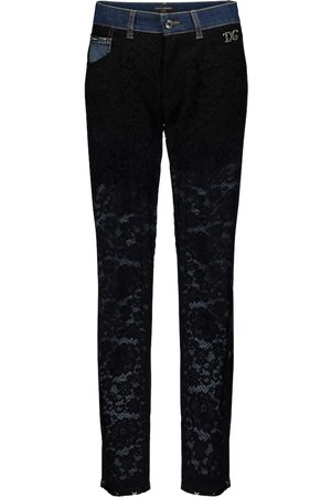 Dolce & Gabbana Lace-paneled high-rise slim jeans