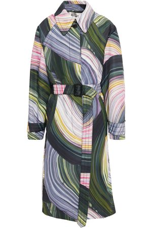 Diane von Furstenberg Women Trench Coats - Woman Patina Printed Twill Trench Coat Forest Size M/L