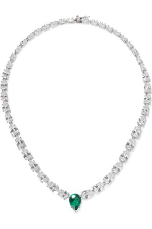 Kenneth Jay Lane Woman Rhodium-plated Crystal Necklace Emerald Size