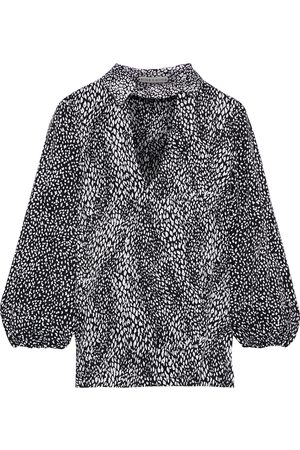 ALICE+OLIVIA Woman Willa Cutout Leopard-jacquard Blouse Size L