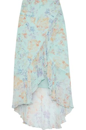 ALICE+OLIVIA Woman Caily Wrap-effect Floral-print Georgette Skirt Mint Size 0