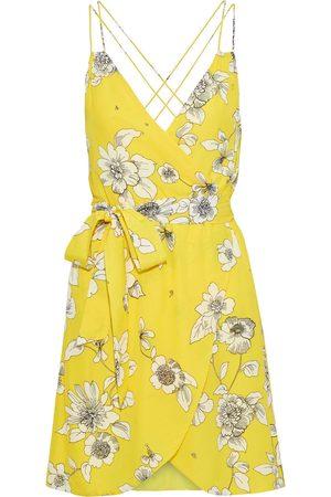 ALICE+OLIVIA Women Party Dresses - Woman Susana Wrap-effect Floral-print Crepe De Chine Mini Dress Size 0
