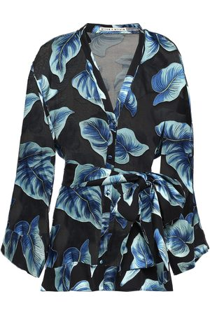 ALICE+OLIVIA Woman Amos Belted Printed Burnout Chiffon Blouse Size L