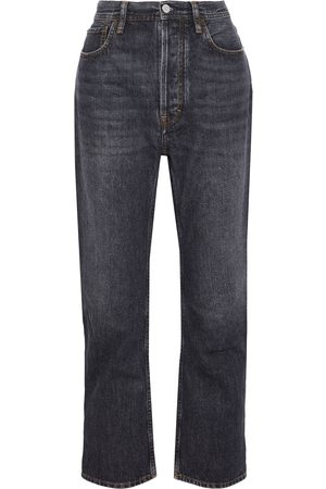 Acne Studios Women High Waisted - Woman Log Distressed High-rise Straight-leg Jeans Charcoal Size 26W-32L