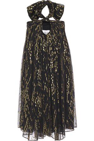 Bash Women Party Dresses - Woman Junon Metallic Fil Coupé Silk-blend Chiffon Halterneck Mini Dress Size 0
