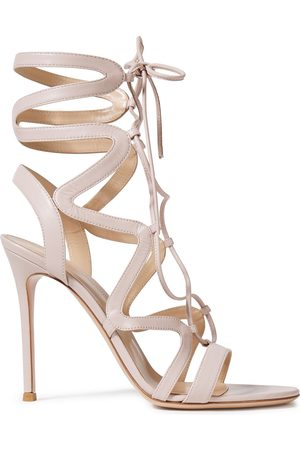 Gianvito Rossi Woman Artemis 105 Lace-up Leather Sandals Pastel Size 36