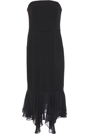 Halston Heritage Women Asymmetrical Dresses - Woman Asymmetric Strapless Chiffon-paneled Stretch-cady Dress Size 0