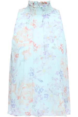 ALICE+OLIVIA Woman Annmarie Floral-print Crinkled-chiffon Top Mint Size L