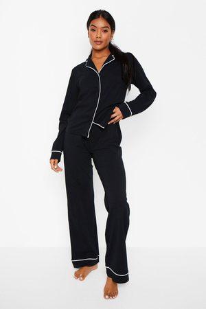 Boohoo Womens Long Sleeve Button Through Jersey Pj Set - - 2
