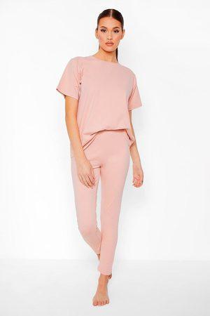 Boohoo Womens Basic T-Shirt And Legging Soft Jersey Pj Set - - 4