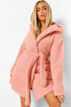 Boohoo Women Bathrobes - Womens Pom Pom Fleece Robe - - L