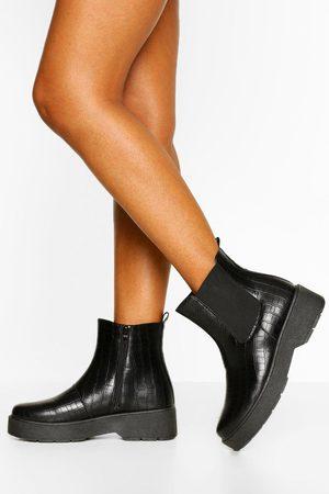 Boohoo Womens Croc Platform Chunky Chelsea Boots - - 5