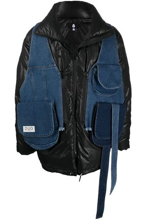 DUOltd Denim-detailed puffer jacket
