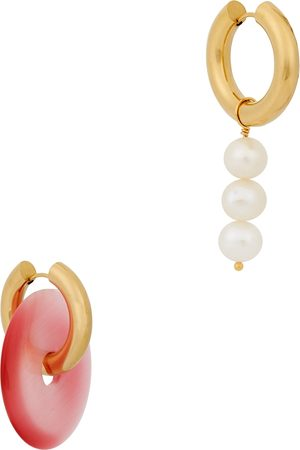 Timeless Pearly Asymmetric 24kt gold-plated hoop earrings