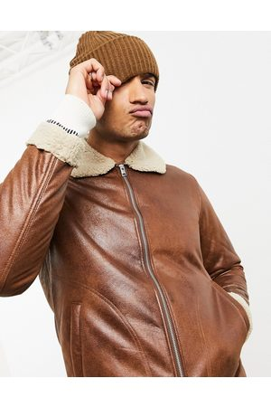 Jack & Jones Originals shearling aviator in tan