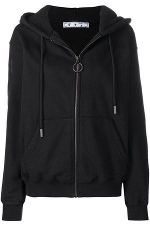 OFF-WHITE Zip-up Arrows logo hoodie