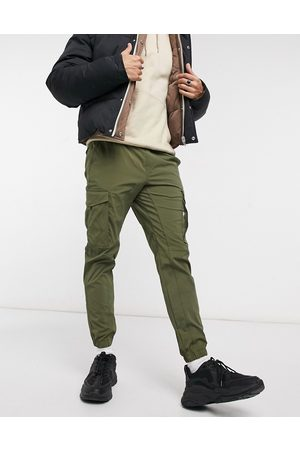 Jack & Jones Intelligence nylon tech detail cuffed cargo pants in khaki