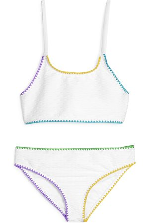 Limeapple Girls' Mejia Textured Rainbow Trim Two-Piece Swimsuit - Big Kid