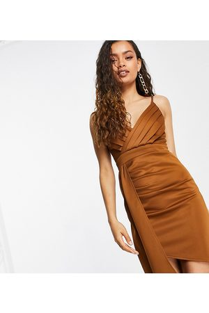 Jaded Rose Petite Wrap drape front satin midi dress in chocolate