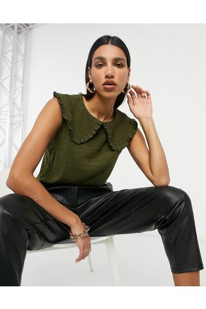 VILA Women Tank Tops - Knitted tank with oversized collar detail in khaki