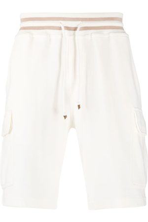 Brunello Cucinelli Men Shorts - Drawstring track shorts - Neutrals