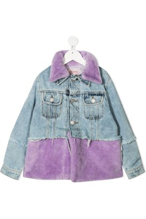Natasha Zinko Girls Denim Jackets - Faux-fur panel denim jacket