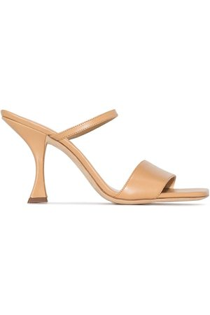 By Far Nayla 85mm leather sandals - Neutrals