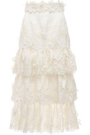 ZIMMERMANN The Lovestruck Silk & Linen Midi Skirt