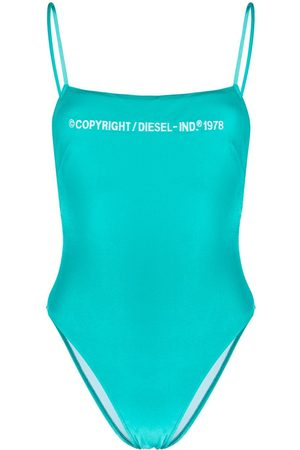 Diesel Velvet finish embroidered logo swimsuit