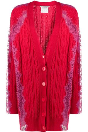 Stella McCartney Women Cardigans - Floral lace cable knit cardigan