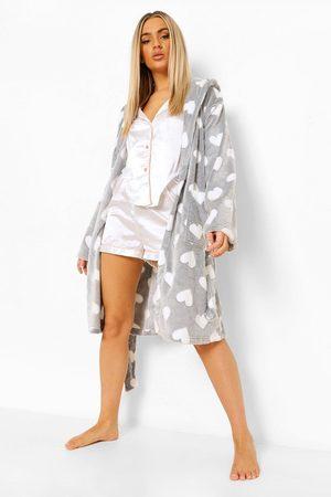 Boohoo Women Bathrobes - Womens Heart Print Luxury Fleece Robe - - S
