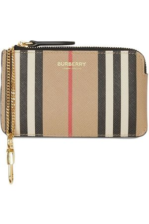 Burberry Coated Check Wallet W/ Chain