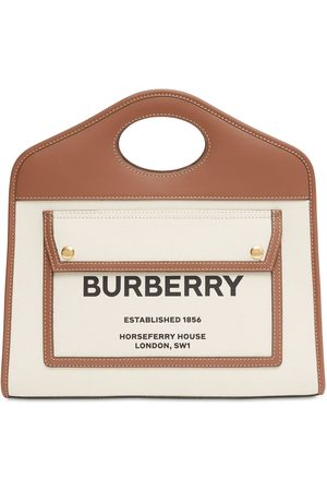 Burberry Small Pocket Canvas & Leather Bag