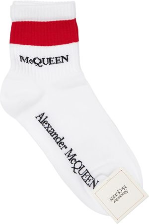 Alexander McQueen Women Socks - Logo Intarsia Cotton Blend Ankle Socks